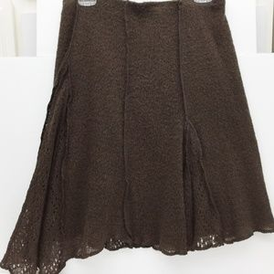 TI AMO Brown Lacy Gore Lined Skirt Wool Italy Sz 7